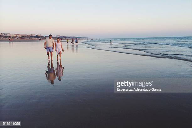 People on the beach in Cadiz Spain August 24 2014
