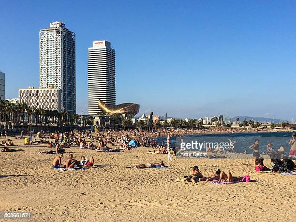 People on the beach of Barceloneta in Barcelona's city taking sunbath with the Mapfre towers on the background