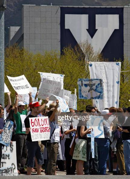 People on the campus of Brigham Young University protest the impending visit of Vice President Dick Cheney for commencement services at the school on...