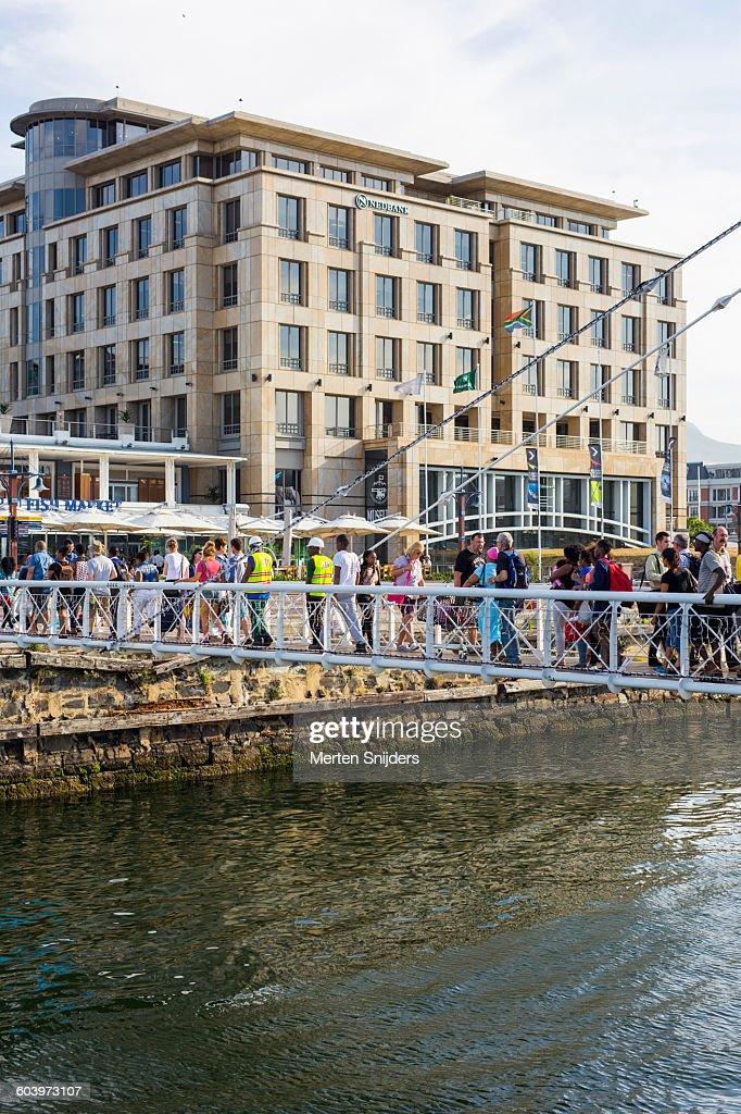 People on the Marina Swing Bridge
