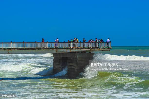 People on the pier at Galle Face beach