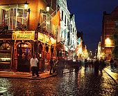 People on the street in temple bar in Dublin, Ireland