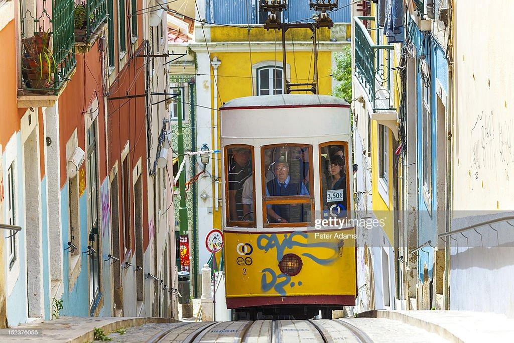 People on Tram, Barrio Alto, Lisbon, Portugal