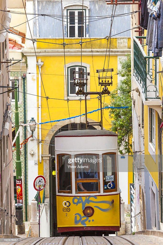 People on Tram, Barrio Alto, Lisbon, Portugal : Stock Photo