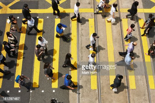 people on zebra crossing, Hong Kong