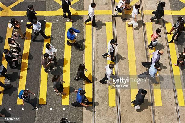 people on zebra crossing, Hong Kong