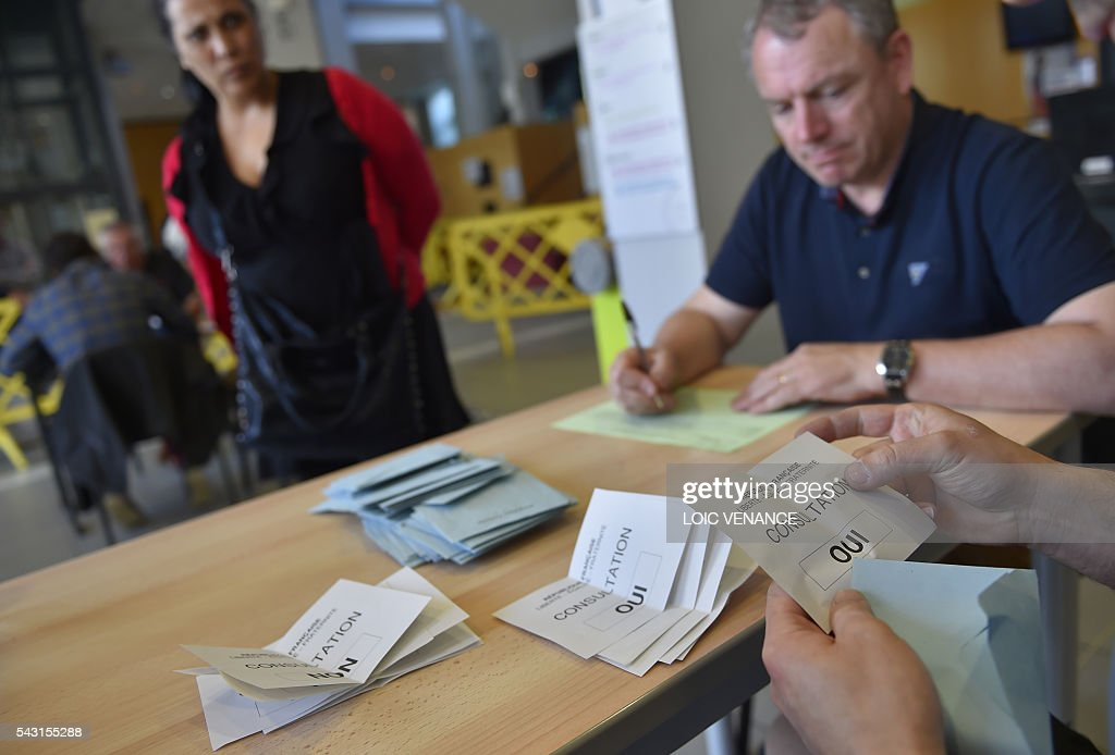 People open ballots on June 26, 2016 in Saint-Herblain, outside Nantes, after a local referendum organised in Loire Atlantique regarding the transfer of the Nantes Atlantique airport to Notre-Dame-des-Landes. Nearly one million people living in France's Loire-Atlantique department voted in a referendum which poses the question 'Are you in favour of the project to transfer the Nantes-Atlantique airport to the municipality of Notre-Dame-des-Landes?' to voters. The referendum was organised by the French executive power hoping to find a solution to the issue which has dragged on for 50 years. / AFP / LOIC