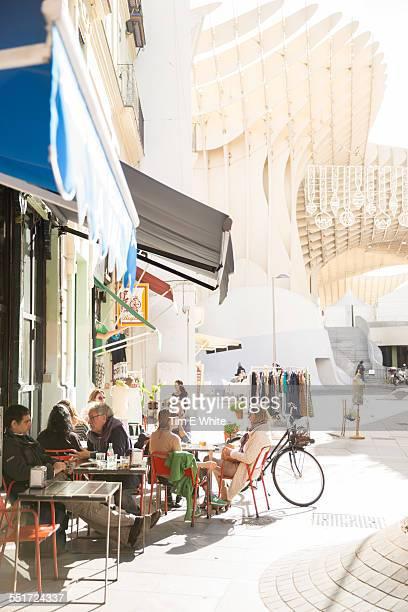 People outside cafe near Parasol, Seville, Spain