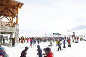 People outside ski lodge