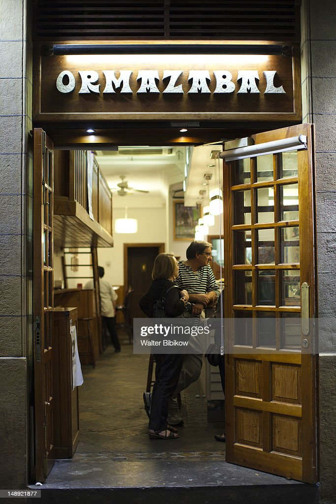 People outside tapas bars in old town. : Stock Photo