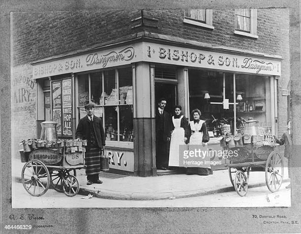 People outside the Bishop Son Dairymen Blackfriars Road City of London