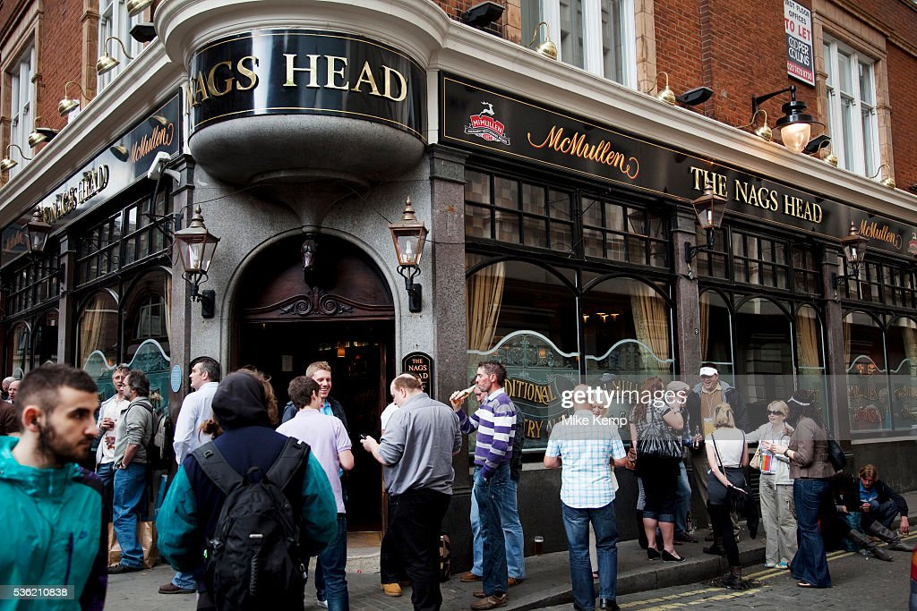 People outside the Nags Head pub Covent Garden in the West End of London