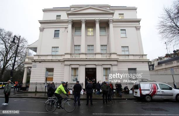 People outside the pound15 million Grade II listed mansion on Belgrave Place London which has been squatted by the Autonomous Nation of Anarchist...