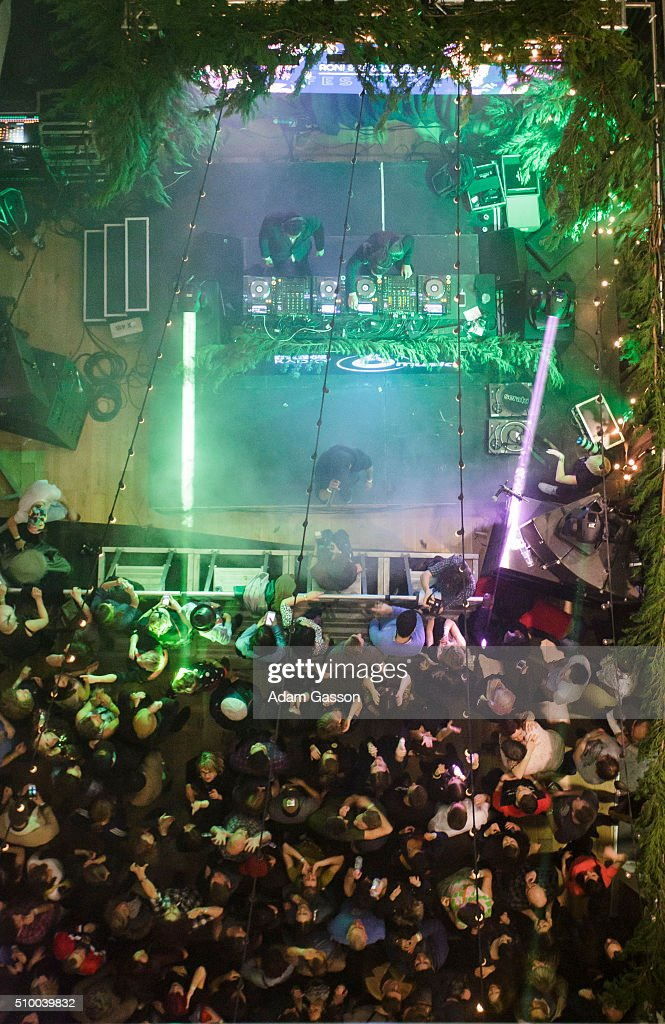 People pack into the Concourse of Colston Hall as DJ Krust and Roni Size perform on the second day of the BBC 6 Music Festival on February 13, 2016 in Bristol, England.
