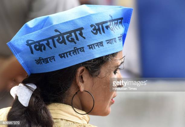 People participate during a Kirayedar Swabhimaan Bacho Mahasabha organized by Delhi Chief Minister Arvind Kejriwal to press their various demands at...
