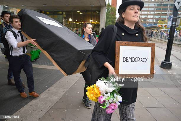 People participate in a demonstration in solidarity with the people of Wallonia against 'CETA' on October 27 2016 in Manchester England CETA is the...