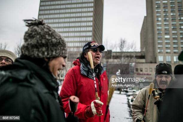 People participate in a march against racism and Islamophobia in Montreal Canada on March 26 2017 The Canadian house of commons has passed an...