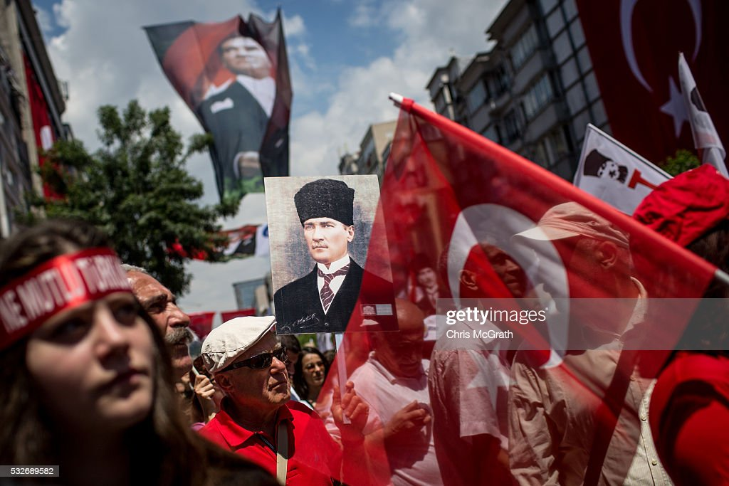 People participate in a march to celebrate the life of modern Turkey's founder <a gi-track='captionPersonalityLinkClicked' href=/galleries/search?phrase=Mustafa+Kemal+Ataturk&family=editorial&specificpeople=107954 ng-click='$event.stopPropagation()'>Mustafa Kemal Ataturk</a> during festivities on Ataturk, Youth and Sports Day on May 19, 2016 in Istanbul, Turkey. Despite security warnings about possible terrorists attacks by ISIL, people gathered across the country to commemorate the start of Turkey's War of Independence .