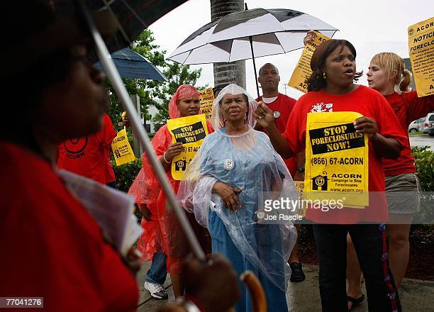 People participate in a protest in front of Ocwen Financial a subprime loan servicer September 26 2007 in West Palm Beach Florida The protest was put...