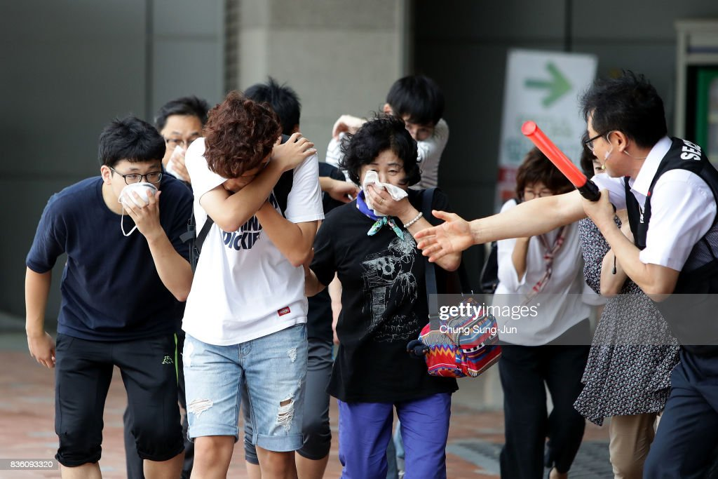 People participate in an anti-terror and anti-chemical terror exercise as part of the 2017 Ulchi Freedom Guardian (UFG) at Kintex on August 21, 2017 in Goyang, South Korea. The computer simulation war game exercises, taking place through August 31, has been denounced as a provocation from North Korea, citing it is a 'rehearsal of invasion to North', may cause flaring up further tension between Pyongyang and Washington. North Korea responded to the exercise with a nuclear test last year.