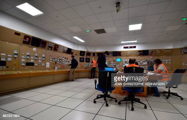 People participate in an exercise in a simulator under the look of controllers at the nuclear power plant of Cattenom on October 17 2017 in Cattenom...