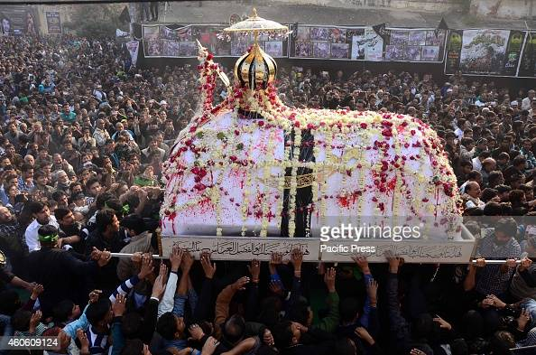 People participate in the '72 Taboot Procession' showing the sacrifices of Hazrat Imam Husain Alaihissalam and his 71 followers in Karbala taken out...