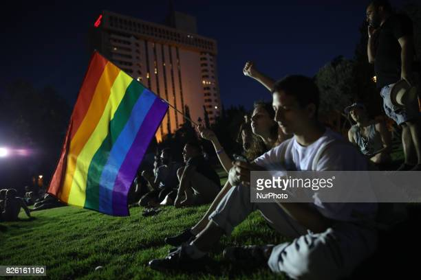People participate in the annual Gay Pride parade in Jerusalem Israel August 03 2017 22000 March in Jerusalem Pride Parade Jerusalem Under Heavy...