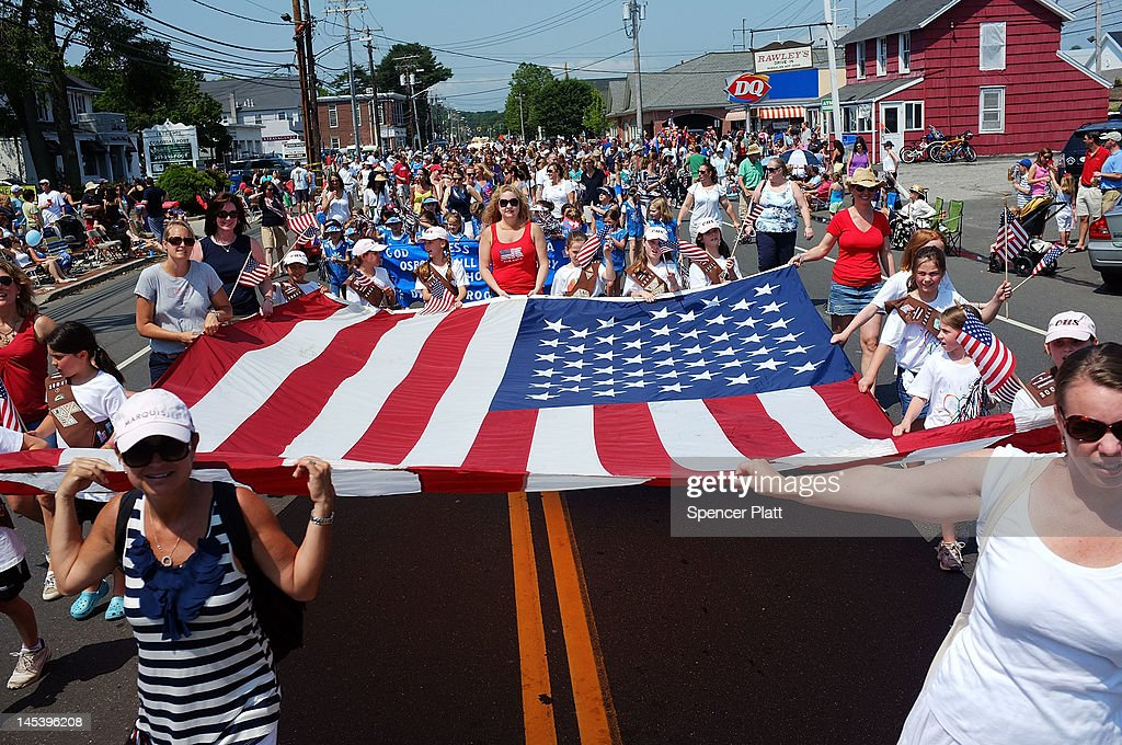 People participate in the annual Memorial Day Parade on May 28, 2012 in Fairfield, Connecticut. Across America towns and cities will be celebrating veterans of the United States Armed Forces and the sacrifices they have made. Memorial Day is a federal holiday in America and has been celebrated since the end of the Civil War.