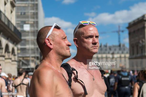 People participate in the Gay Pride Parade rally and march in the streets on June 24 2017 in Paris France 2017 marks the 40th anniversary of the...