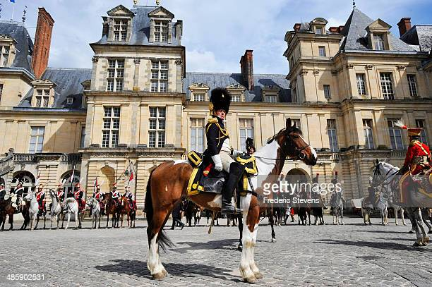 People participate in the reenactment of Napoleon's farewell to his Guard on April 20 2014 in Fontainebleau France On March 31 1814 Napoleon took...