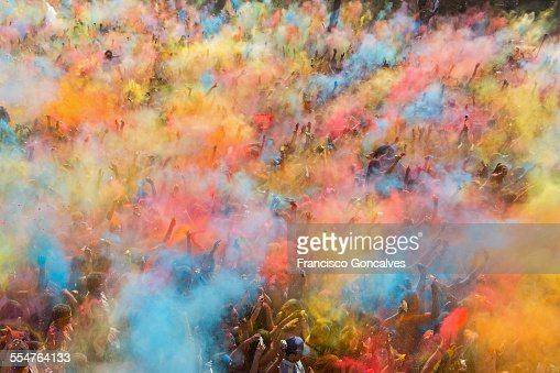 People participating in the Holi Festival
