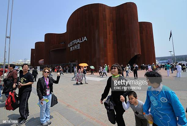 People pass by the Australian pavilion at the World Expo in Shanghai on May 1 2010 Shanghai unveiled to the world its multibillion dollar World Expo...