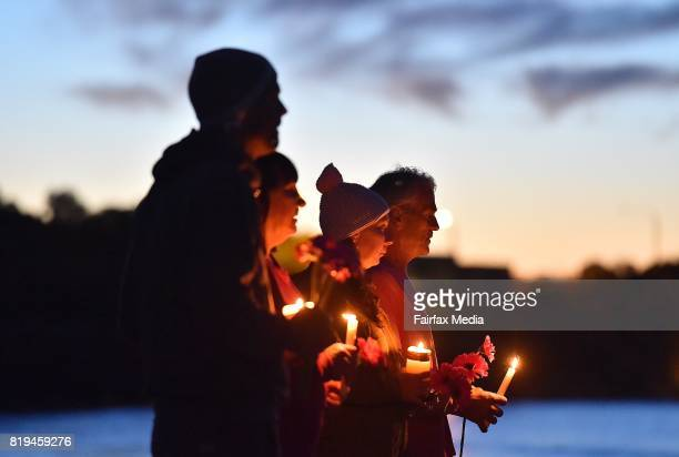 People pay their respects during a vigil for Justine Damond at Freshwater Beach on July 19 2017 in Sydney Australia Ms Damond was shot dead by police...