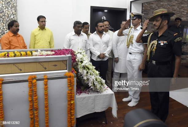 People paying their last respect to Union Environment Minister Anil Madhav Dave at his residence at Safdarjung Road on May 18 2017 in New Delhi India...