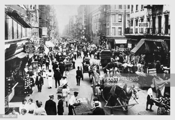 People Peddlers and HorseDrawn Carriages on a Lower East Side Street