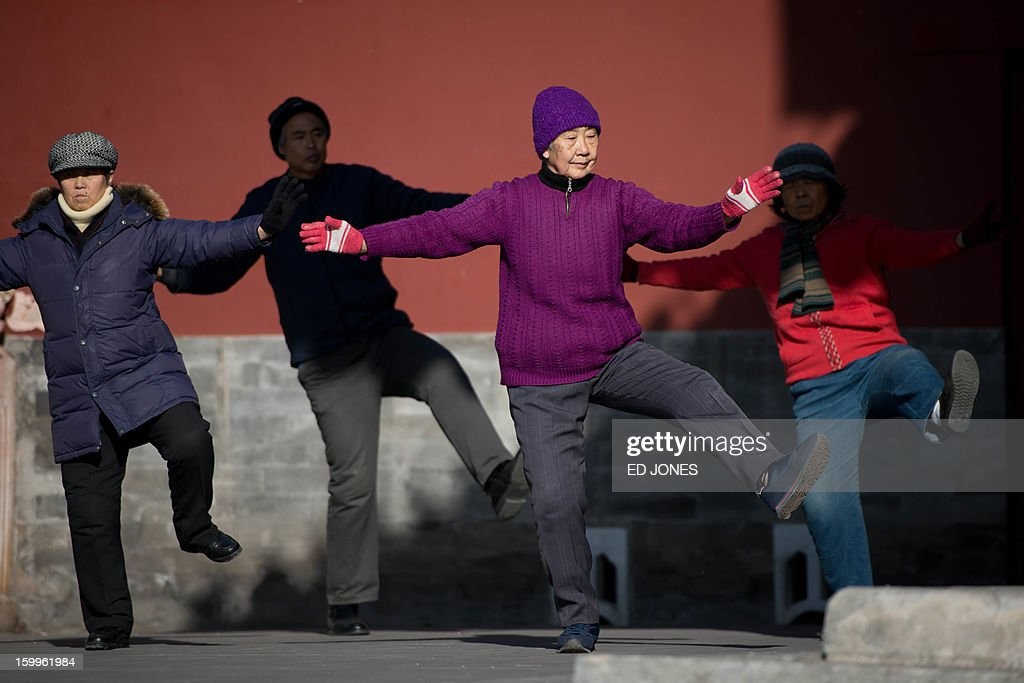 People perform t'ai chi in a park in Beijing on January 24, 2013. China's manufacturing activity expanded in January at its fastest pace in two years, HSBC said, the latest sign of recovery in the world's second biggest economy. AFP PHOTO / Ed Jones