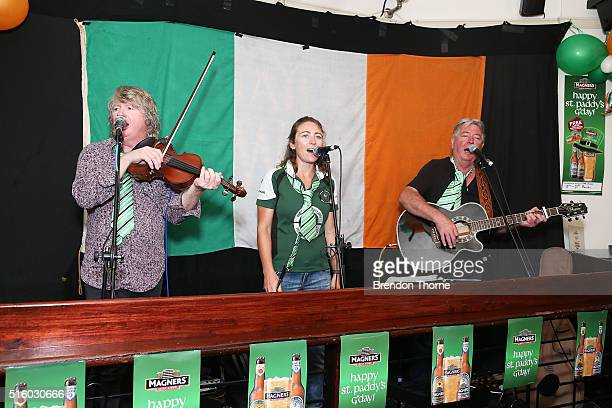 People perform to celebrate St Patrick's Day at the Mercantile Hotel Irish pub on March 17 2016 in Sydney Australia March 17th commemorates Saint...