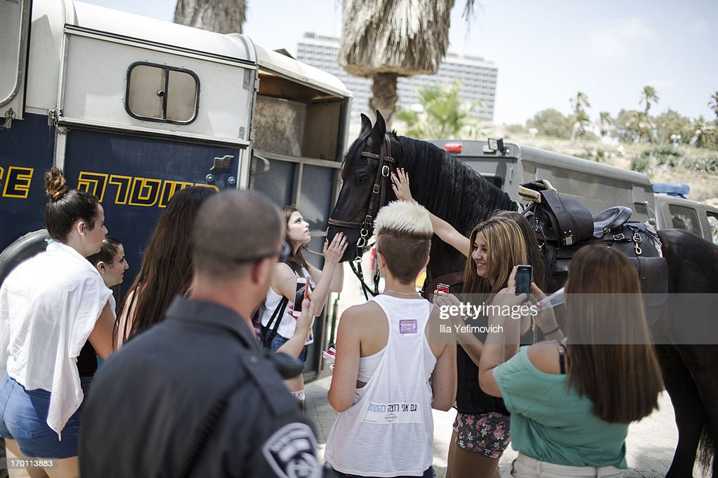 People pet a police horse during the annual Tel Aviv Gay Pride parade on June 7, 2013 in Tel Aviv, Israel. Thousands of people gathered in Tel Aviv for the parade, which attracts visitors from all over the world.