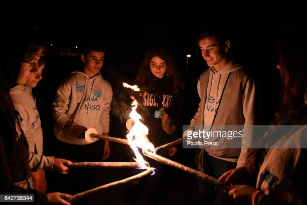 MAYOR ALMAZáN SORIA SPAIN People pictured carrying burning torches during the final ceremony of ' La Bajada de Jesús' festival in Almazán north of...