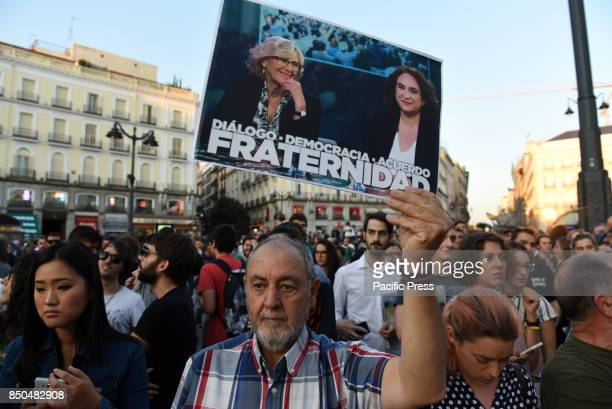 People pictured during a protest in Madrid in support of independence referendum in Catalonia
