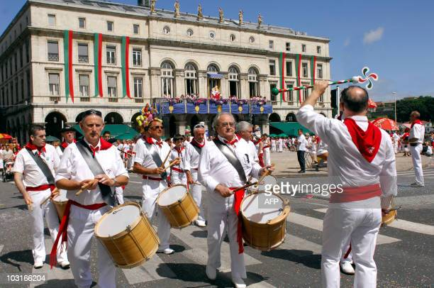 People play music in the streets of Bayonne on July 30 2010 during The fêtes de Bayonne a yearly summer event where gathers hundreds of thousands of...