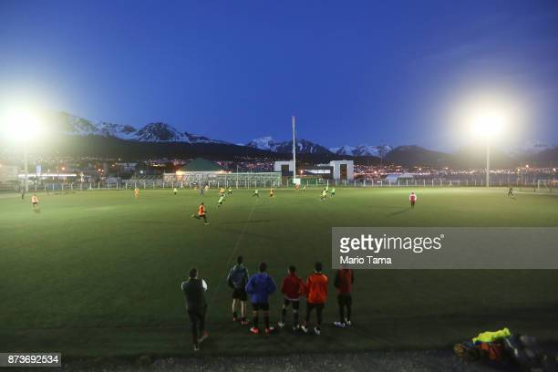 People play soccer at dusk on October 30 2017 in Ushuaia Argentina Ushuaia is situated along the southern edge of Tierra del Fuego in the Patagonia...