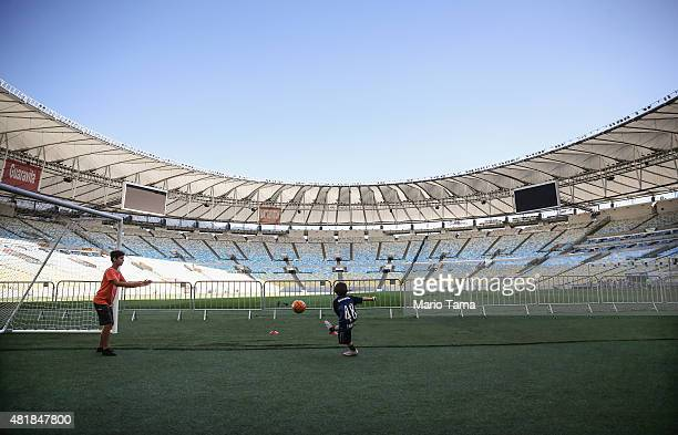 People play soccer during a tour of the famed Maracana stadium on July 24 2015 in Rio de Janeiro Brazil Maracana will be the site of the opening...