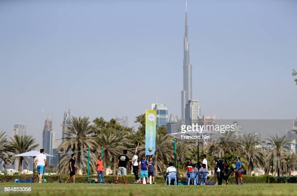 People play volleyball during the Dubai Fitness Challenge Opening Carnival at Safa Park on October 21 2017 in Dubai United Arab EmiratesThe inaugural...