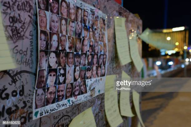People post notes and photos at the memorial near The Fabulous Las Vegas Sign after the shooting in Las Vegas Nevada that took 58 lives October 28...