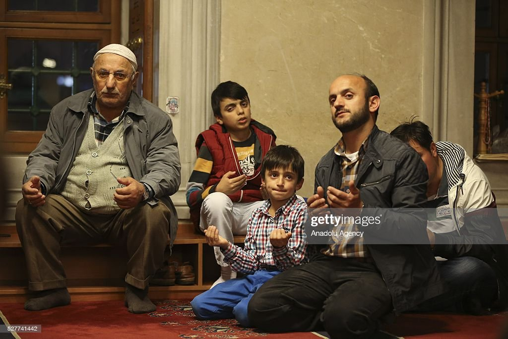 People pray during a ceremony to mark the Islamic event of Miraj Night or Lailat al Miraj at Kocatepe Mosque in Ankara, Turkey on May 3, 2016.