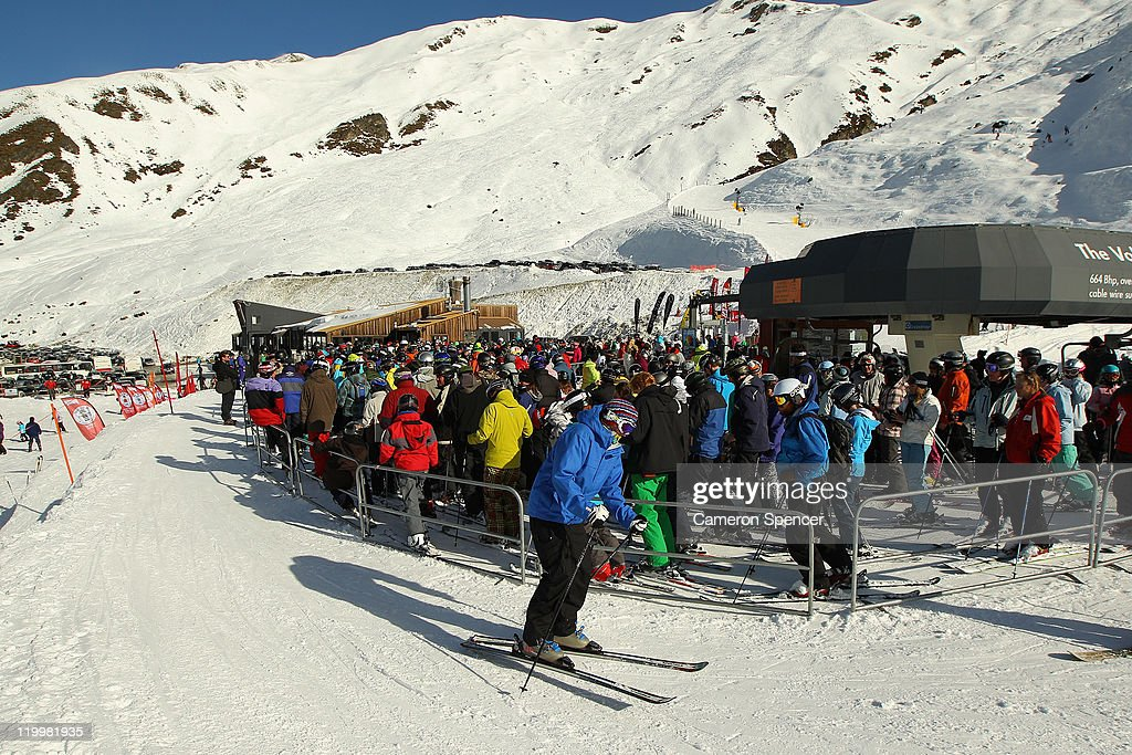 People prepare to ski at Treble Cone ski resort on July 28, 2011 in Wanaka, New Zealand.