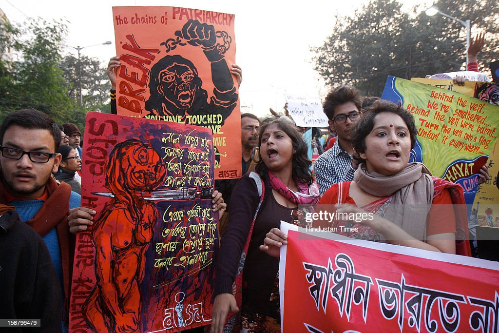 People protest after the death of Delhi rape victim, on December 29, 2012 in Kolkata, India. The girl died of injuries in Singapore hospital after brutally gang raped in a moving bus on December 16, in Delhi.