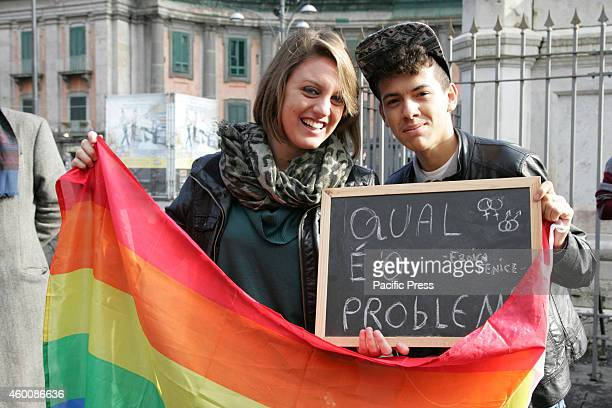 People protest against homophobia during the 'Kiss me Day' that was organized after the two guys were attacked for kissing in public The initiative...
