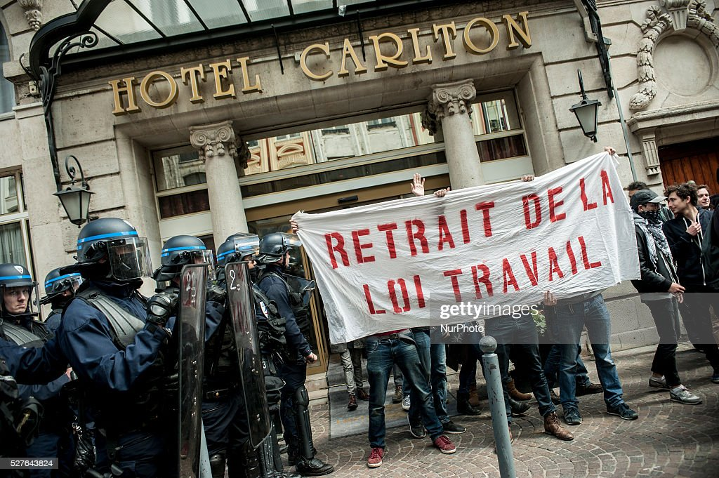 People protest against Labor Reform El-Khomri, in Lille, France, on May 3, 2016.